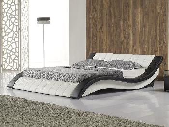 Tgc Cosmo King Size White And Black Faux Leather Bed Frame King