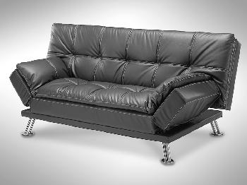 TGC Georgia Black Faux Leather Sofa Bed