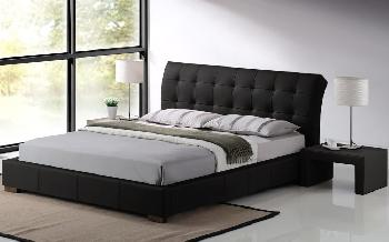 Time Living Boston Faux Leather Bed Frame, King Size, Faux Leather - Black