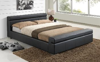Time Living Durham Faux Leather Bed Frame, King Size, Faux Leather - Black