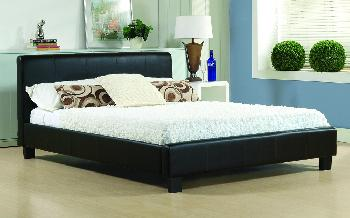 Time Living Hamburg Faux Leather Bed Frame, King Size, Faux Leather - Black