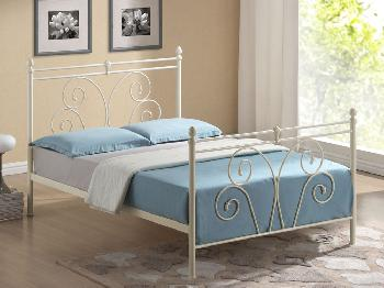 Time Living Wallace King Size Ivory Metal Bed Frame
