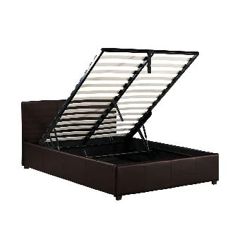 Toronto Leather Ottoman Bed Double - Brown