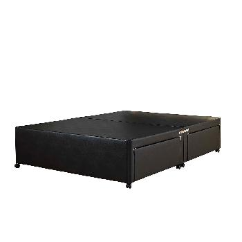 Universal Black Leather Divan Base No Drawer - Super King - Black