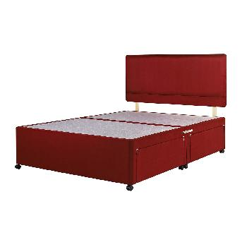 Universal Red Suede Divan Base Double No Drawer