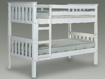 Verona Barcelona 2ft 6 White Wooden Small Single Bunk Bed Frame