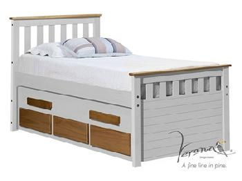 Verona Design Ltd Captains Bergamo Guest Bed Whitewash 3' Single Whitewash Pink Guest Bed Stowaway Bed