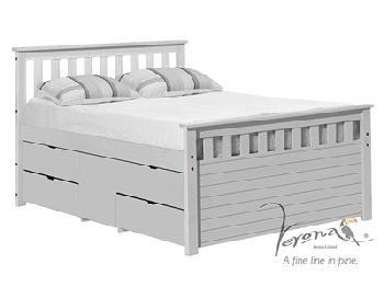 Verona Design Ltd Captains Ferrara Storage Bed Whitewash 3' Single Whitewash Blue Storage 1 Side (4 Drawer) Cabin Bed