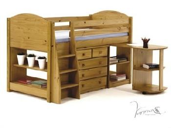 Verona Design Ltd Midsleeper Only - Antique 3' Single Blue Details Cabin Bed