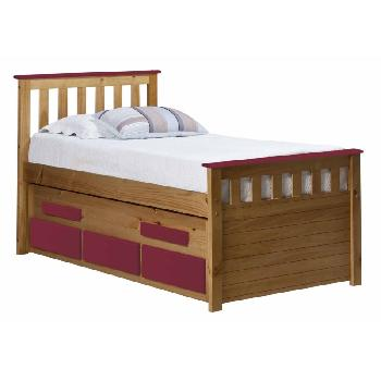 Verona Kids Bergamo Captains Bed - Antique and Fushia