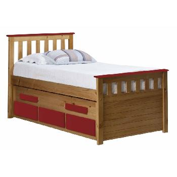 Verona Kids Bergamo Captains Bed - Antique and Red