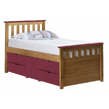 Verona Kids Ferrara Captains Bed Antique and Fushia