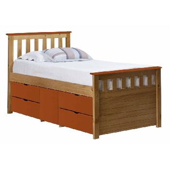 Verona Kids Ferrara Captains Bed Antique and Orange