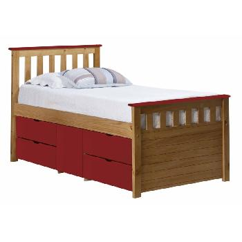Verona Kids Ferrara Captains Bed Antique and Red
