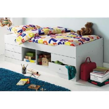 Wave Wooden Cabin Bed Maple White